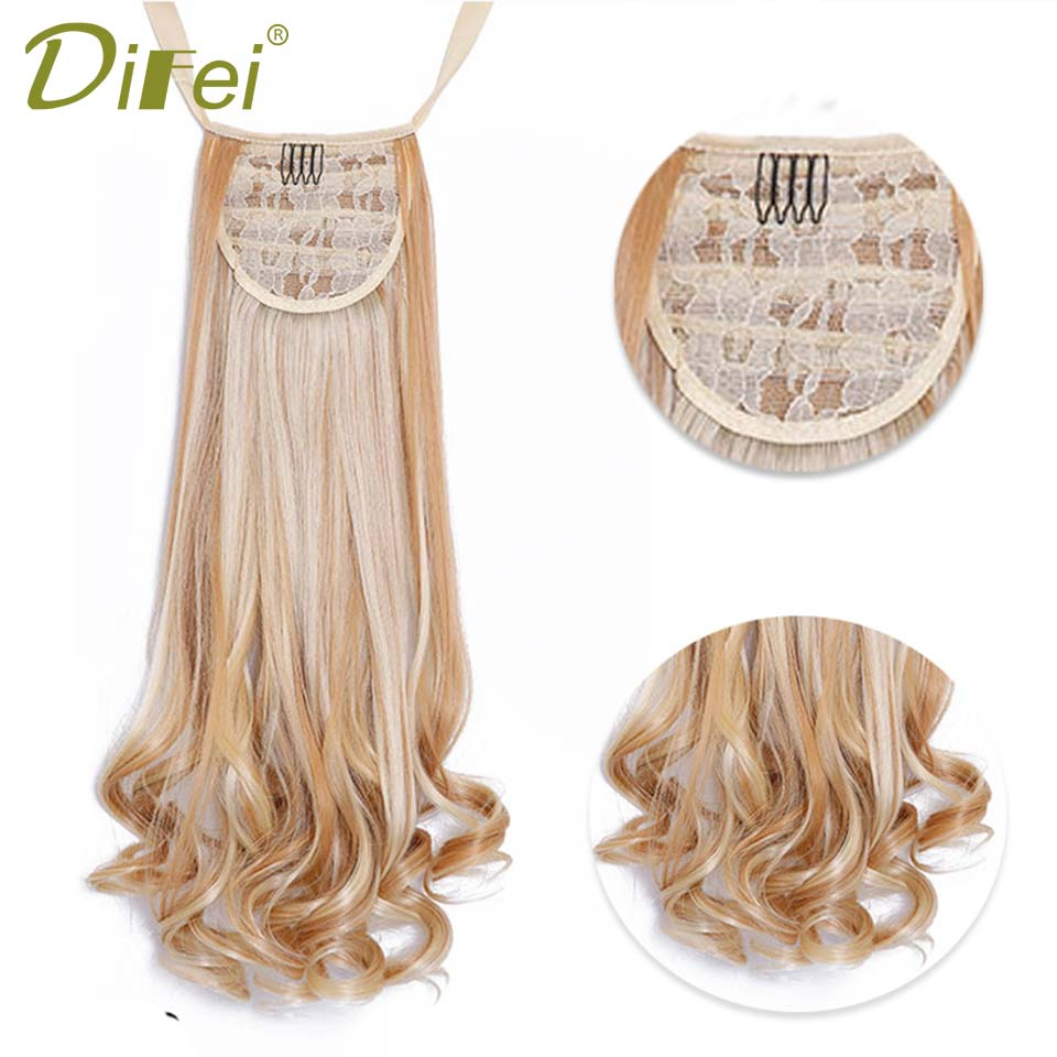 DIFEI 26women long Wavy Synthetic Ponytail Clip in Hair Extensions Curly Style Pony Tail Hairpiece hairstyles