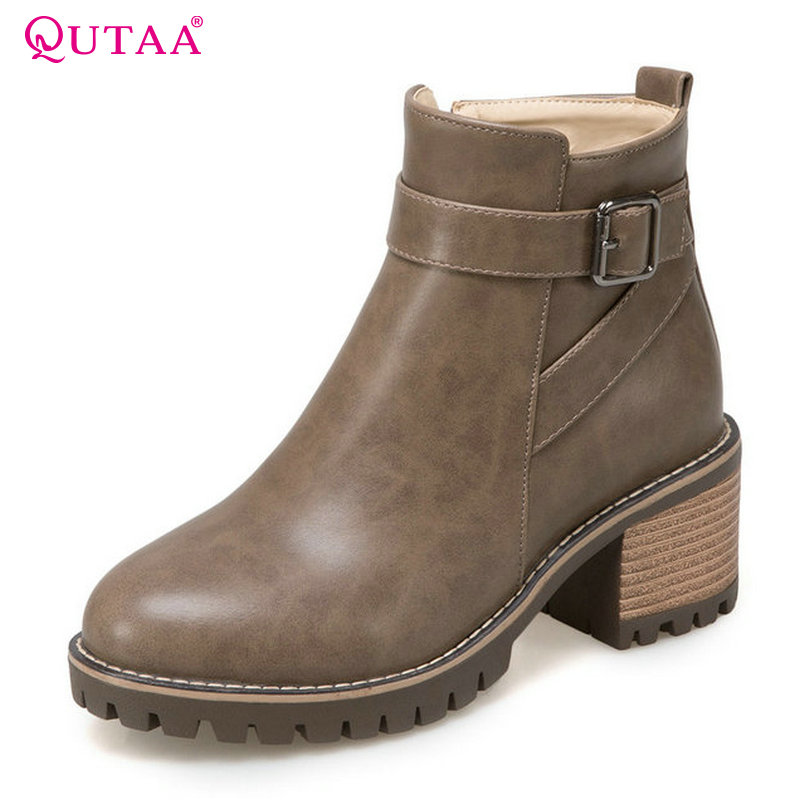 QUTAA 2018 Short Plush Women Ankle Boots Zipper Design Fashion Round Toe Square High Heel Westrn Style Women Boots Size  34-43 popular high quality full grain leather ankle boots size 40 41 42 43 44 sequined decoration zipper design round toe boots