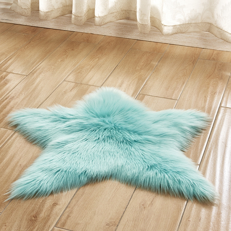 Long Hairy Rug Blue White Pink Five Pointed Star Fur Area