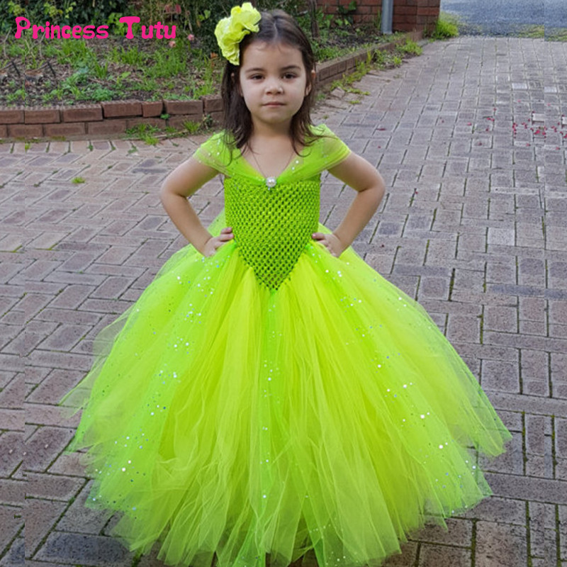 Glittery Princess Cinderella Elsa Belle Dress Girls Pageant Ball Gown Tutu Dress Fancy Girl Birthday Party Dress Cosplay Costume girls party dress elsa anna princess costume christmas winter cinderella cosplay vestido long kids tutu festa infantil ball gown