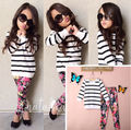 Baby Kids Girls Long Sleeve Stripe Tops Shirt+Floral Pants 2Pcs Outfits Set 2-7Y