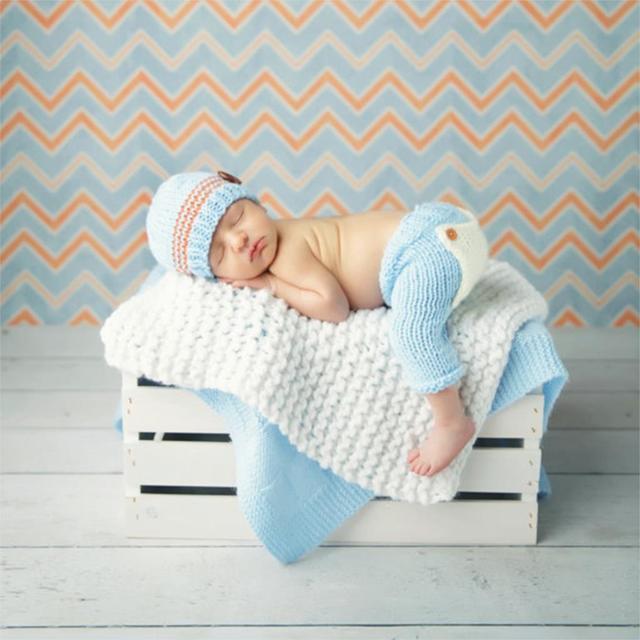 f0d383cf59794 Bébé Nouveau-Né Photographie Props Costume Main Crochet Tricot Infantile  Beanie Chapeau Et Pantalon Pour