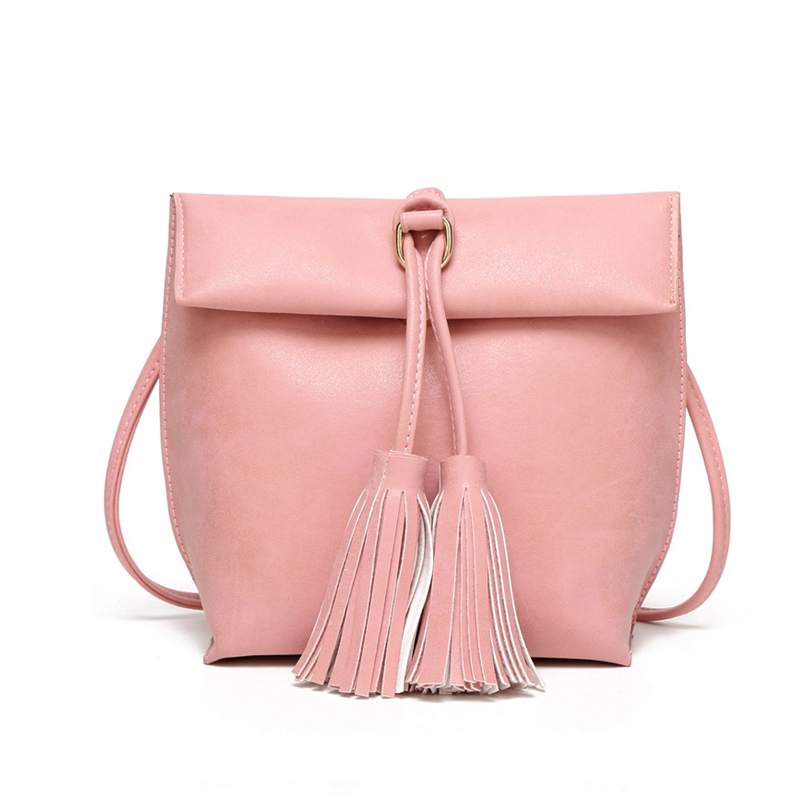 2016 Women's Handbag Candy Color Shoulder Bag Vintage Tassel Bucket Women Messenger Bags Mini Ladies
