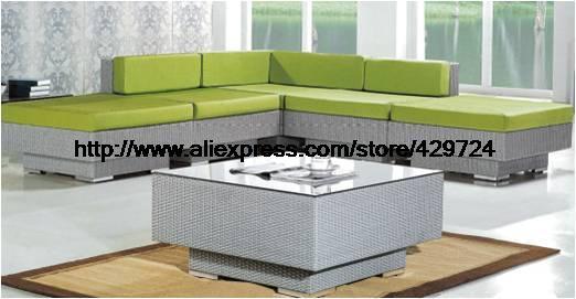Meubles de jardin moderne en forme de L vert rotin canapé Table ensemble usine vente directe meubles bas prix 2016 nouveau canapé meubles