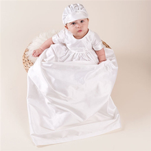 High Quality Baby Boys Christening Gowns White Color Birthday Baby 100 Silk Dupioni in White Dress