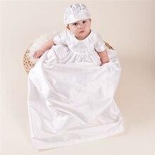 Высокое Качество Мальчиков Крещения Платья Белого Цвета День Рождения Ребенка 100% Шелка Dupioni в Белом Платье Мальчиков Крещение Платья