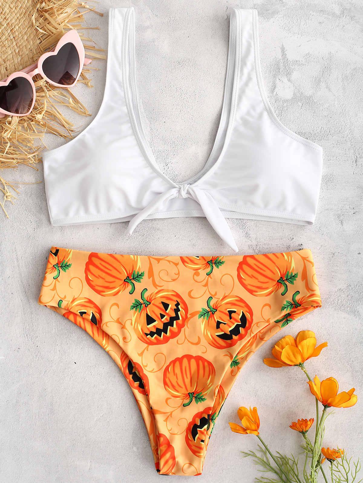 ZAFUL kobiety Bikini zestaw Halter Neck cytryny Bikini Set Print Backless wiązane na fiszbinach podnoszą biust wyściełane pływanie strój kąpielowy na plaży Swimwea