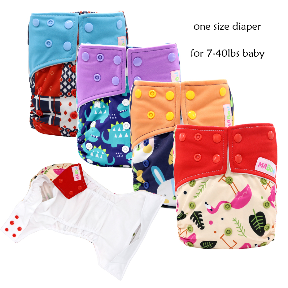 MABOJ Cloth Diaper Pocket Nappy One Size Adjustable Nappy Waterproof Washable Diapers For Babies 7 To 40 Pounds Baby