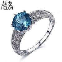 Solid 10k/417 White Gold Flawless 8mm Round 1.6ct Genuine Swiss Blue Topaz Engagement Wedding Vintage Art Deco Fine Jewelry Ring