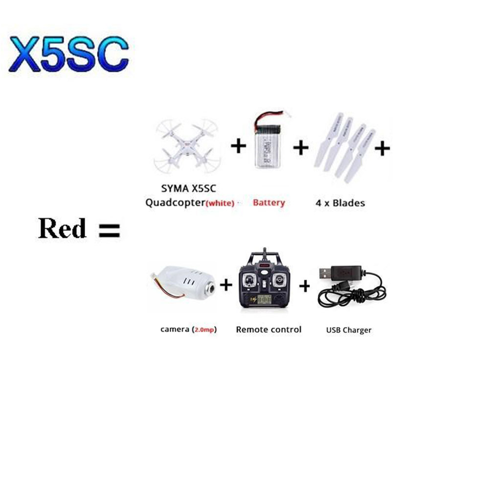SYMA X5SW X5SC WI-FI RC квадролет с дистанционным управлением с видом от первого лица Квадрокоптер с HD Камера в режиме реального времени Радиоуправляемый вертолет, игрушки FSWB - Цвет: Красный