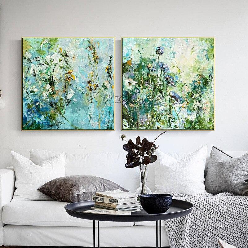 Fower peinture sur toile acrylique art abstrait texture quadros caudros decoracion mur Art photos pour salon décor à la maison