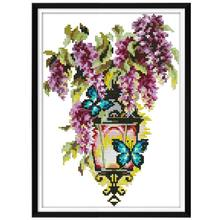 Butterfly Light Needlework Counted 14CT Printed DIY Handmade Cross Stitch Embroidery Kit Set Home Decoration NEW(China)