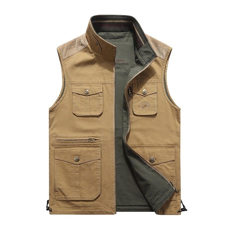 2018 hommes Multi poches gilet sans manches Cargo manteau travail voyage gilet photographe Style militaire tactique homme veste