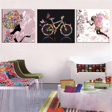 Frameless Dancing Girl Oil Painting Butterfly Wall Poster Canvas Art HD Modular Picture Home Decor  3 Pieces frameless dancing girl oil painting butterfly wall poster canvas art hd modular picture home decor 3 pieces