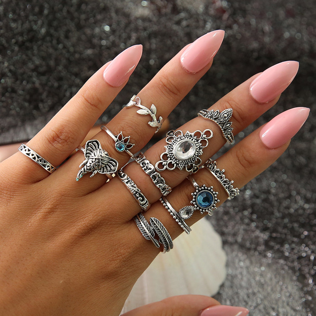 HuaTang Bohemian Antique Silver Ring Geometric Elephant Flower Green Rhinestone Knuckle Rings Midi Finger Anel Rings Jewelry 106