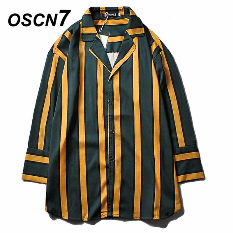 OSCN7 ストライプ長袖シャツ男性ストリート 2019 夏ハワイビーチ 3 分袖シャツ Harujuku メンズシャツ 698