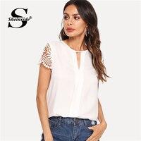 Sheinside белый Кепки рукавом Weekend Повседневное Топы женские офисные шею вырезать пуловеры 2018 Для женщин летний Элегантная блузка