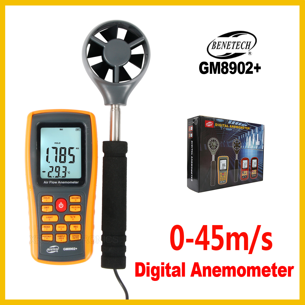 Digital Handheld Wind Speed Anemometer Wind Flow Speed Meter Air Velocity Temperature Air Quantity Measuring GM8902+BENETECH