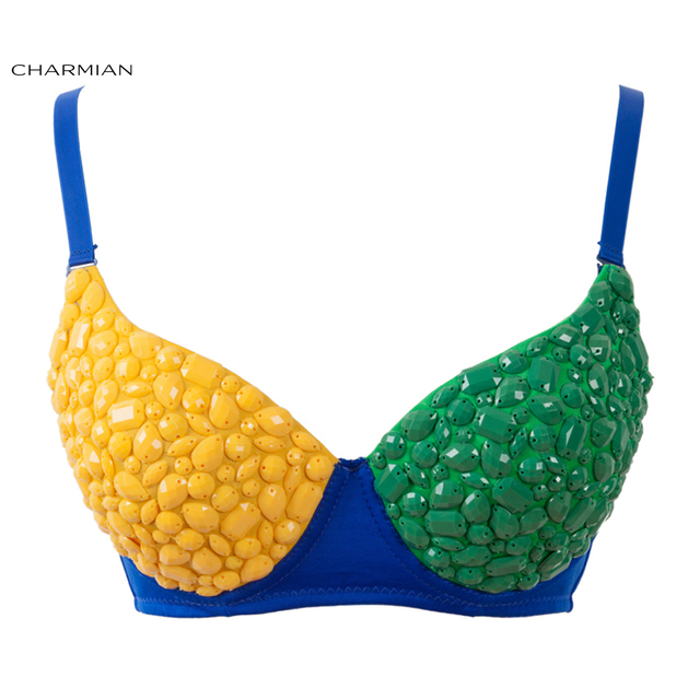 9a0c3639ad Charmian Women s Funky Bra Top B Cup Brazil Flag Color Gem Rave Bra  Nightclub Party Bra Crop Top Corset and Bustiers