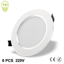 6Pcs 220V 230V Led Downlight 3W 5W 7W 9W 12W 15W LED Ceiling Round Recessed Lamp LED Spot Light For Bathroom Kitchen(China)