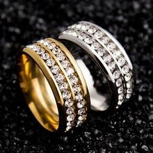 Womens Mens Fashion Double Rows Rhinestones Titanium Steel Wedding Jewelry Ring  5F2B