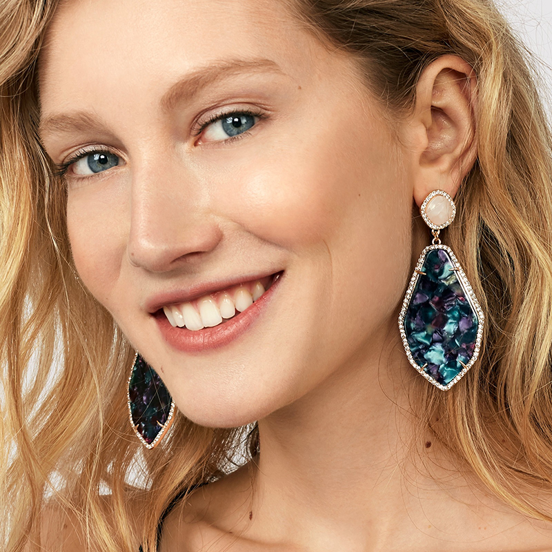 Dvacaman Big Geometric Colorful Rhinestone Drop Dangle Earrings Long Pendant Earrings Women Wedding Crystal Hanging Earring ZZ91