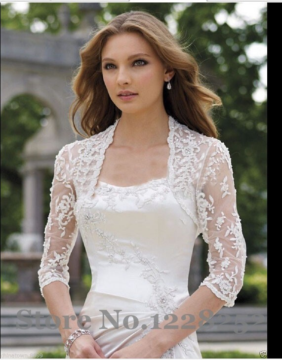 wedding dress jacket 2017 custom made bridal jackets new 3 4 sleeves lace 9230