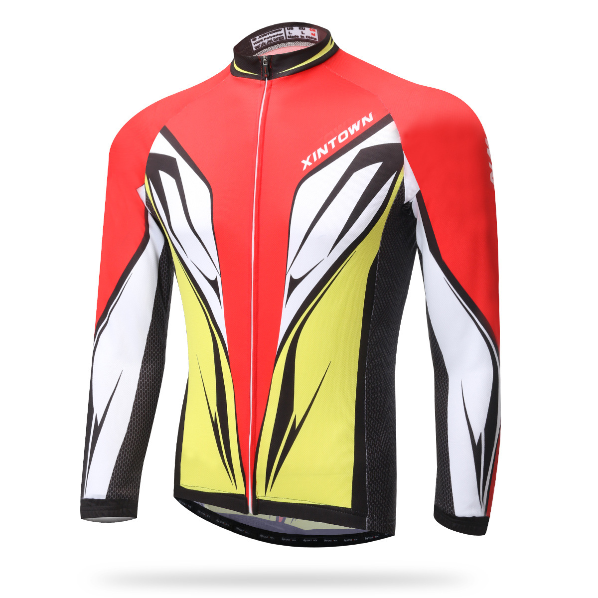 Cycling Jersey Long Full Sleeves Ant-sweat Red Yellow Men Bike Bicycle Jersey Set Ciclismo Windproof Hiking Riding Sports Shirt