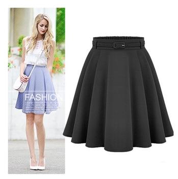 Femmes décontracté moyen genou longueur jupes rétro élégant femme taille haute robe de bal jupes Femininas Vintage femmes longue jupe