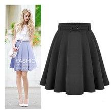 Women's Casual Medium Knee-length Skirts Retro Stylish Female High Waist Ball Go