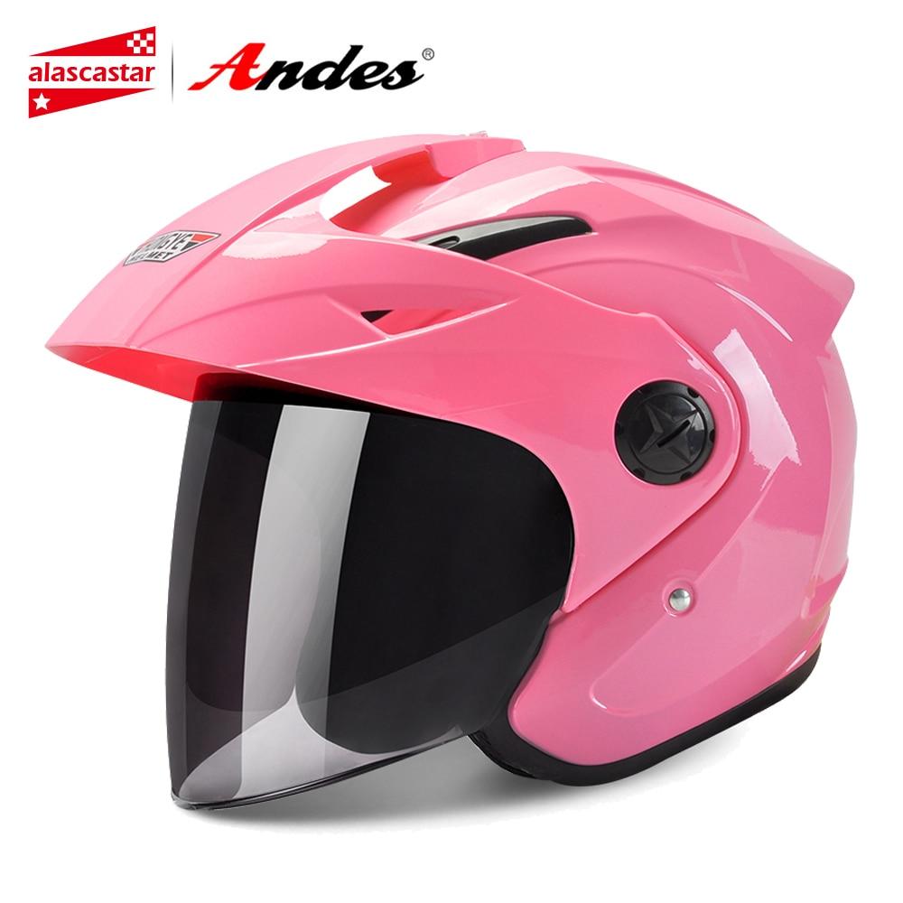 Andes Motorcycle Helmet 3/4 Open Face Moto Helmet For Scooter Unisex Biker Motocross Motorbike Capacete Moto With Anti-fog Visor цена