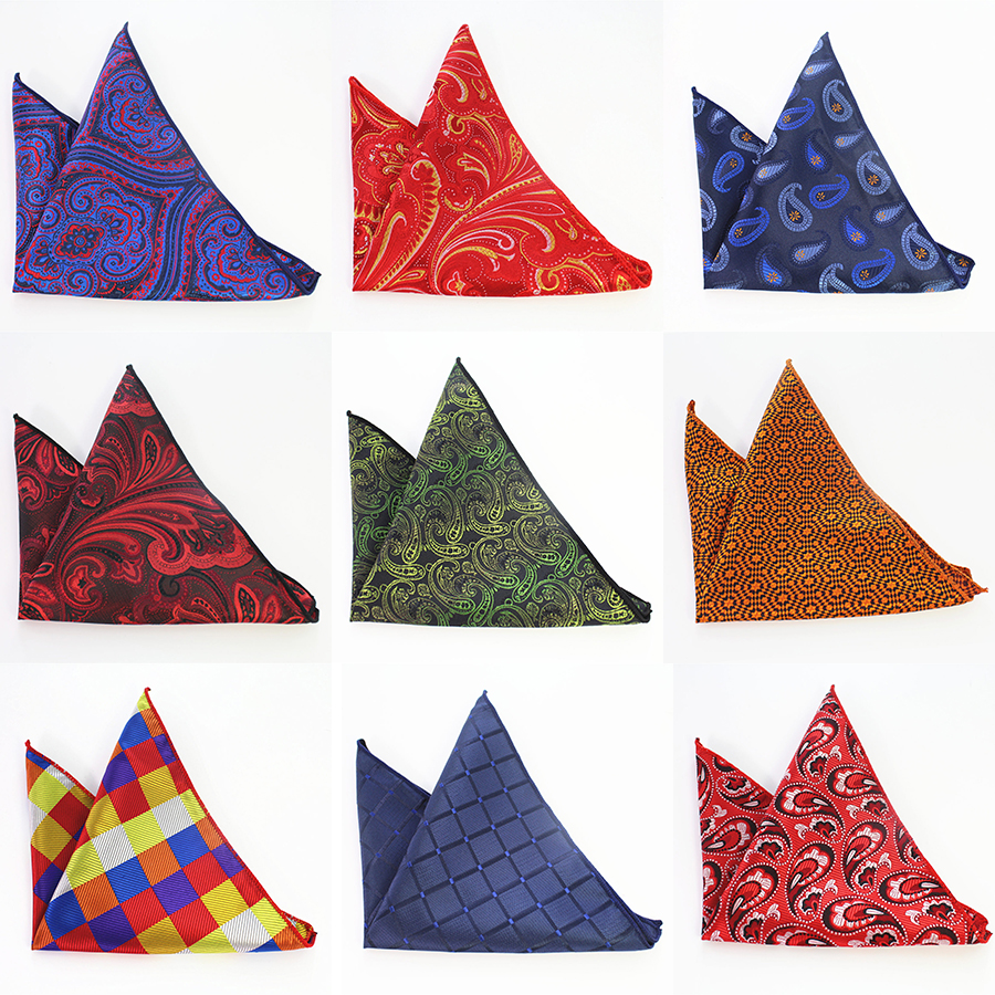 GUSLESON Men's Paisley Handkerchief Vintage Floral Pocket Square Business Chest Towel Plaid Hanky Gentlemen Suit Hankies