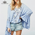 Bella Philosophy new 2016 autumn ethnic style embroidery trumpet flare long sleeves women shirt blouse
