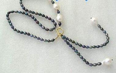 wholesale_jewelry_wig$ free черный павлин рис пресноводный и необычный БЕЛЫЙ БАРОККО Кеши жемчуг Кеши ОЖЕРЕЛЬЕ