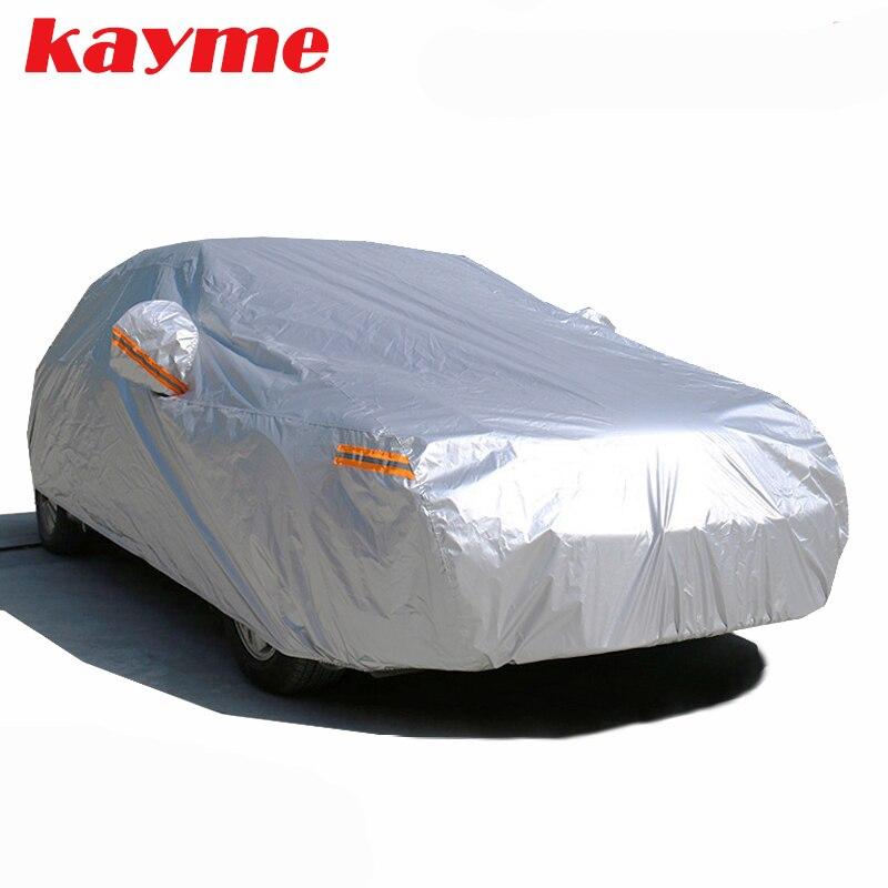 Kayme wasserdichte autoplanen außensonnenschutz abdeckung für auto reflektor staub regen schnee schutz suv limousine fließheck voll s