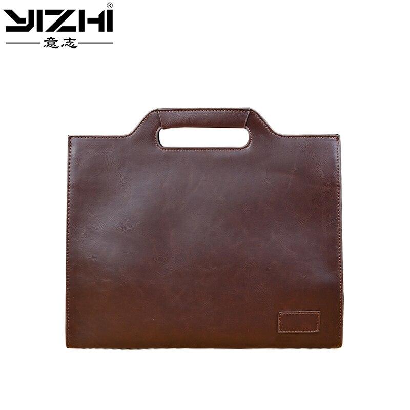 YIZHI 2018 Business Men's Briefcase Computer Bag High-quality PU Leather Handbag Holds 12