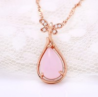 J R Store Pink Furong Stone Necklaces For Women Water Drop Pendants Clavicle Statement Necklaces Fashion