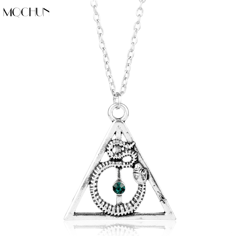 MOCHUN Hot Movie H P Jewelry Deathly Hallows Triangle Snake Necklaces Nagini Jewelry Blue Crystal Choker Necklace Women Men Gift ...