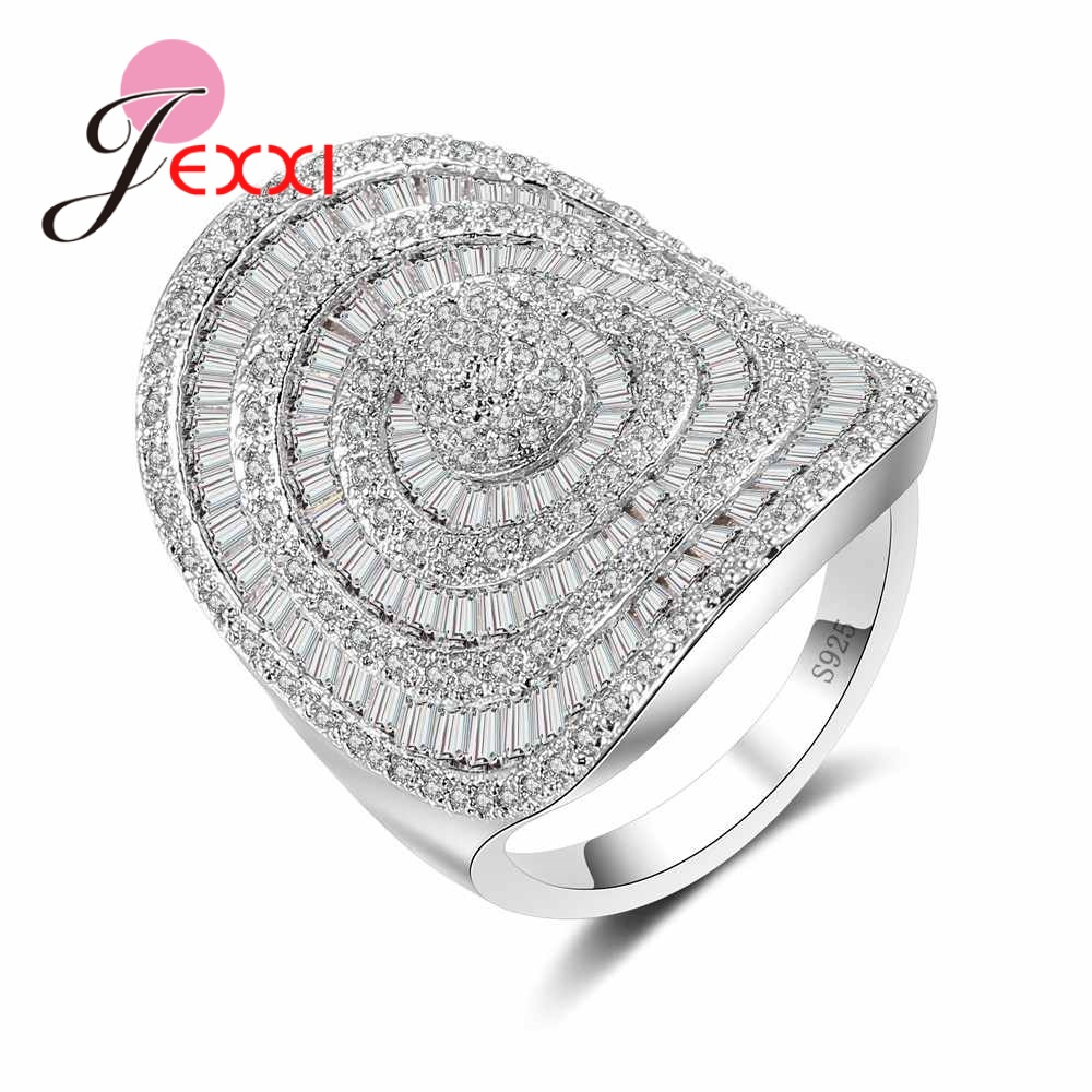 JEXXI Big Noble Princess Finger Rings Pave Full White High Quality Austrian Crystal Shiny Women Anillos 925 Setrling Silver Anel
