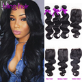 10A Indian Virgin Hair with Closure 3 Bundles Body Wave Weave With Closure Body Wavy 3 Bundles With Closure Natural Black