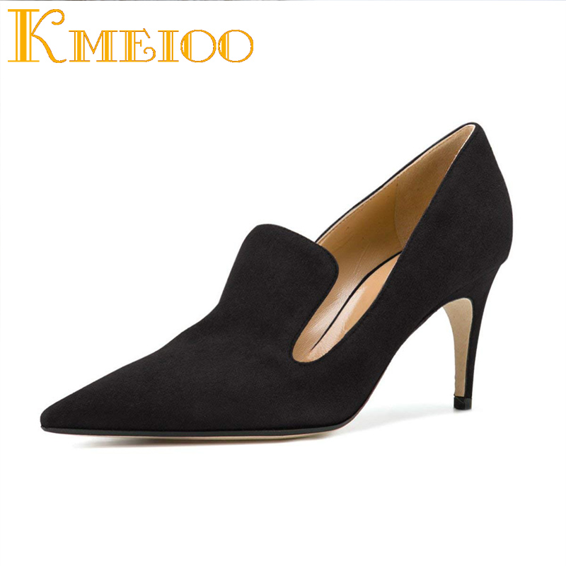 Kmeioo New Style Office Career Pumps Pointed Toe High Heels Slip-On Stiletto Thin Heel Sandals Zapatos Mujer Basic Shoes WomanKmeioo New Style Office Career Pumps Pointed Toe High Heels Slip-On Stiletto Thin Heel Sandals Zapatos Mujer Basic Shoes Woman