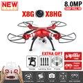 Syma x8hg x8g rc quadcopter drone con cámara de 8mp hd 2.4g Función de Posición X8HG con RC Helicóptero RTF 6-Axis VS H31