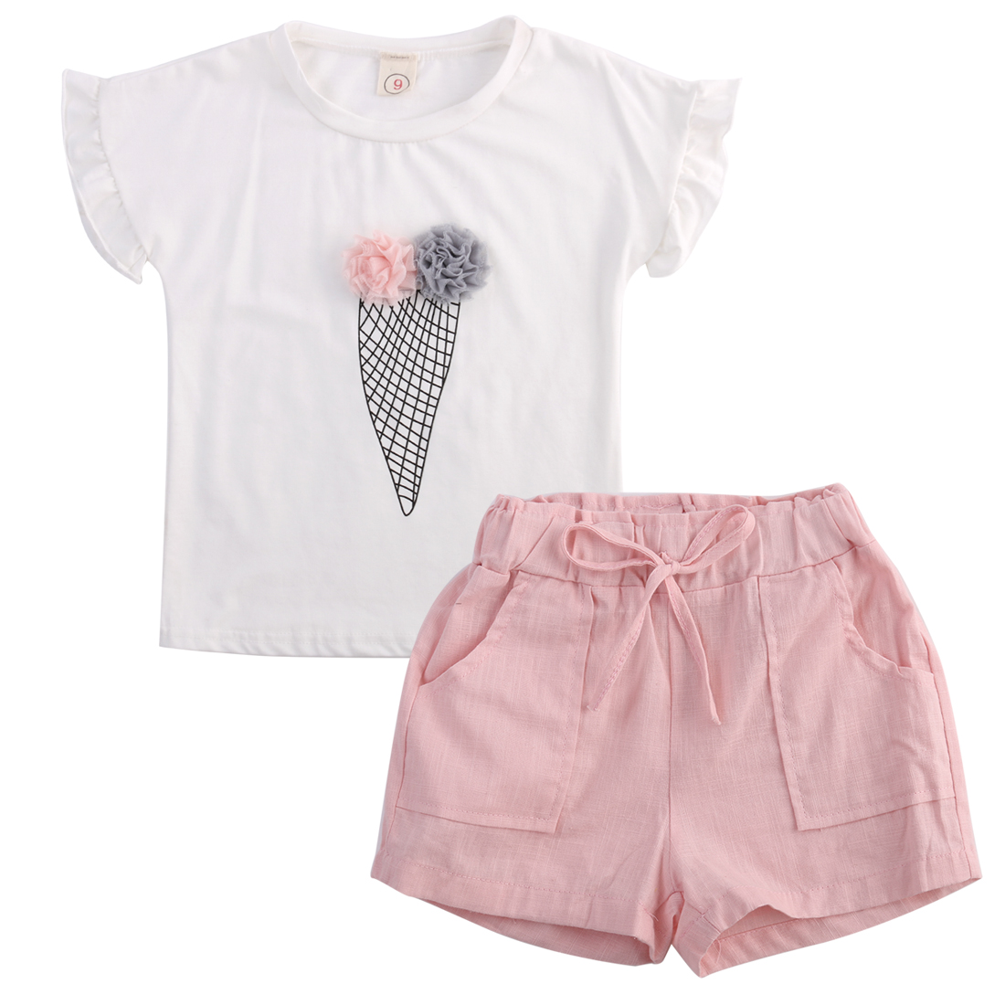 Baby-Kids-Girls-Headband-T-shirt-Pants-Shorts-clothing-Summer-Outfits-Clothes-Set-3
