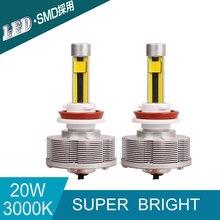 H16 LED Trucks Auto Fog Lamps Source Light Conversion Kit Car Bulbs H16 Super Bright 3000K 20W 2400LM White Light Car-styling
