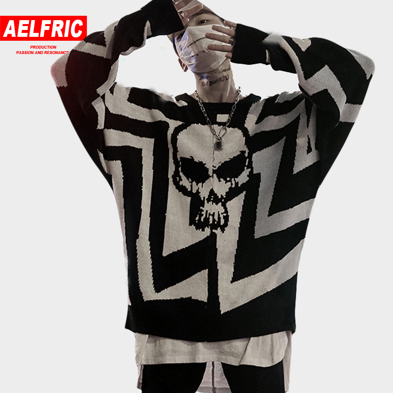 AELFRIC 2018 Men Skull Printed Hip Hop Sweater Streetwear High Quality Loose Oversized Sweaters Casual Pullover Clothing KA13