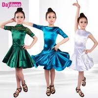 Shiny Girls Kids Junior Club Latin Dresses Turtle Neck Lace Modern Ballroom Latino Dresses For Dancing