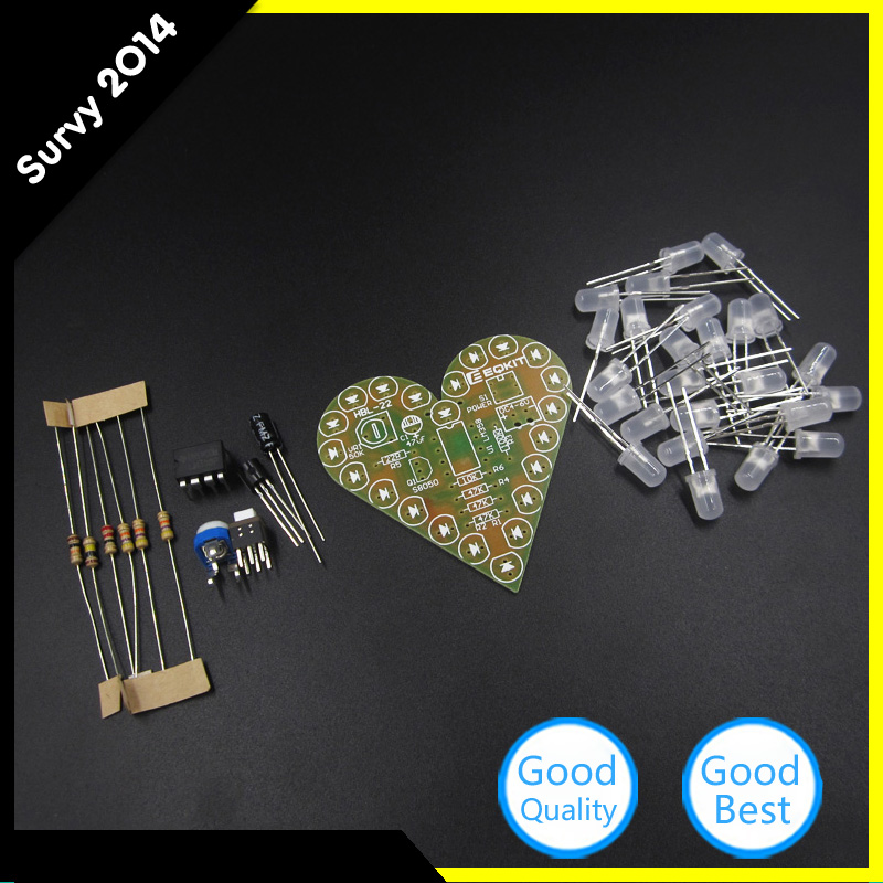 Bright Diy Kit Heart Shape Breathing Lamp Electronic Kit Dc4v-6v Student Decor Learning Electronics For Diy Highly Polished Electronic Components & Supplies