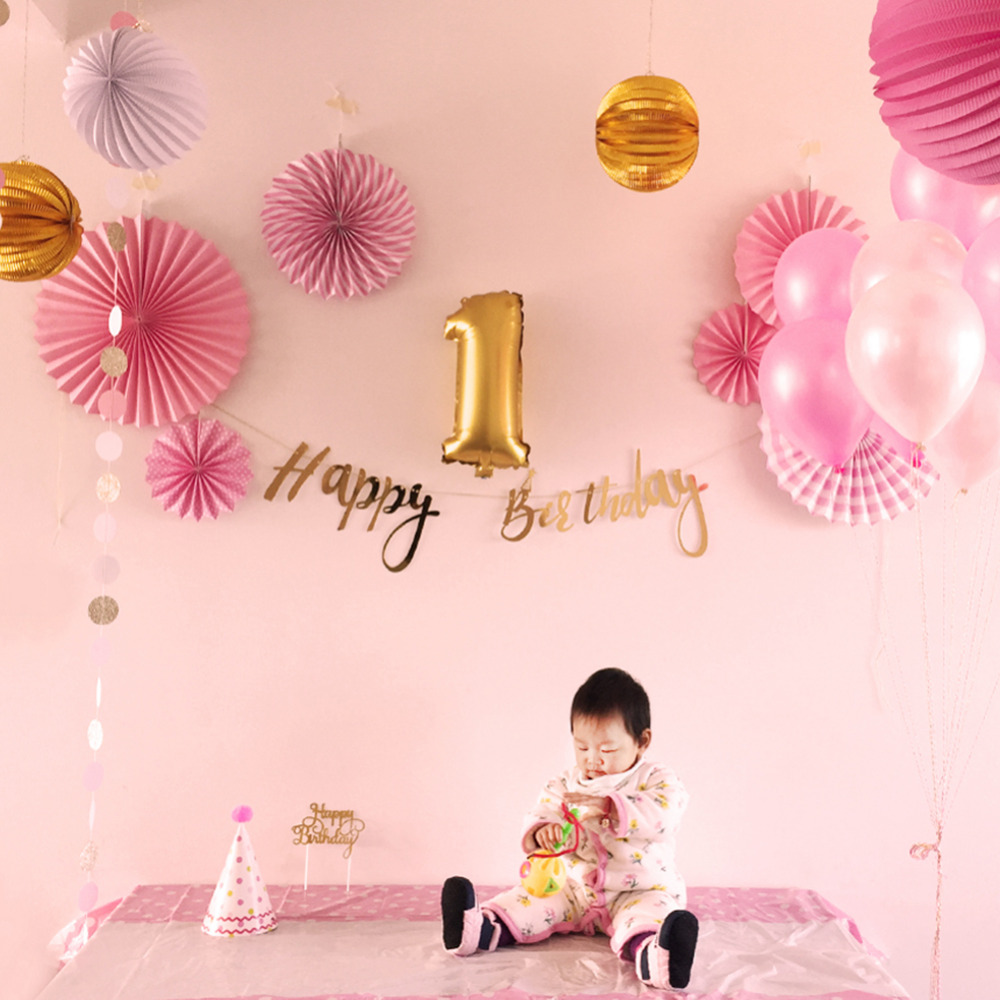 24pcs Pink Gold First Birthday Party Decoration Set Baby Girl Star Circle Garland Foil Latex Balloons Happy Birthday Banner Party Diy Decorations Aliexpress