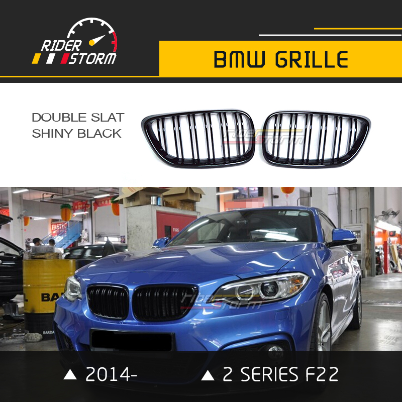 F22 M2 Grill for BMW 2 Series Front Kidney Grille F23 220i 228i M235i Double Slat 2014 2015 2016 Matte Glossy Black Tri Color