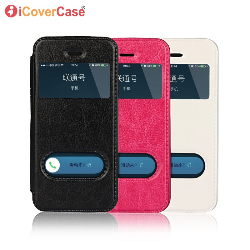 Smart Window <font><b>Case</b></font> For <font><b>iPhone</b></font> 5S 5 SE Flip Cover Magnet Slide Coque <font><b>Phone</b></font> Bag Hoesjes For <font><b>iPhone</b></font> <font><b>5se</b></font> 6 6S S 7 8 Plus Capinha Etui image